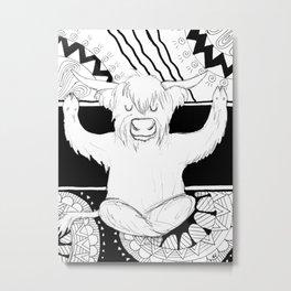 Yoga Highland Cow, Black and White Mandala Metal Print