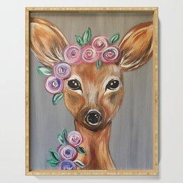 Oh Deer!  Fawn Painting Deer Print Serving Tray