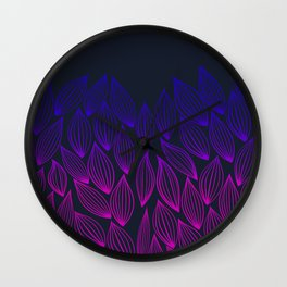 Autumn blue-pink leaf fall. Wall Clock