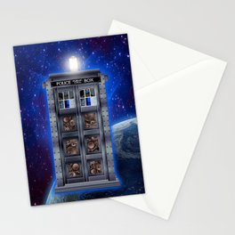 Steampunk Time Machine Phone Booth Stationery Cards