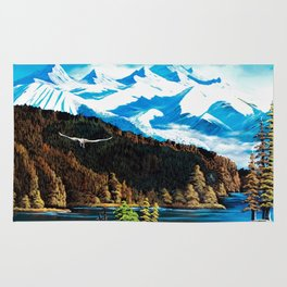 The Rockies and an eagle Rug