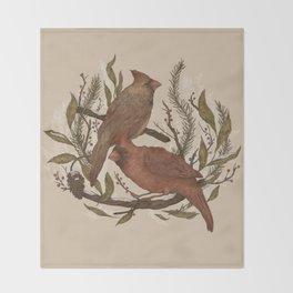 Wintery Cardinals Throw Blanket