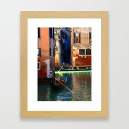Gondoliers On A Venetian Canal Framed Art Print