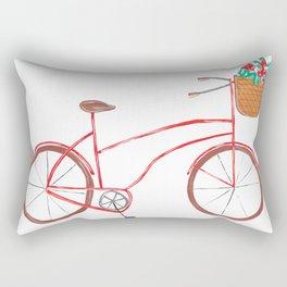 Bicycle With Flower Basket Rectangular Pillow