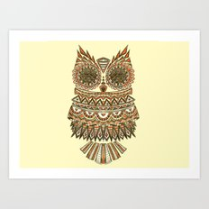 aztec owl  , aztec owl  games, Art Print