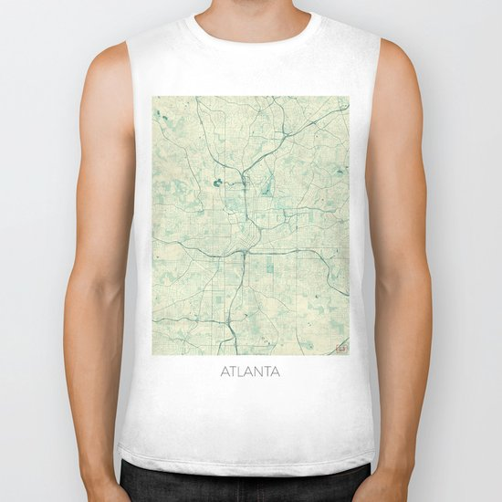 Atlanta Map Blue Vintage Biker Tank