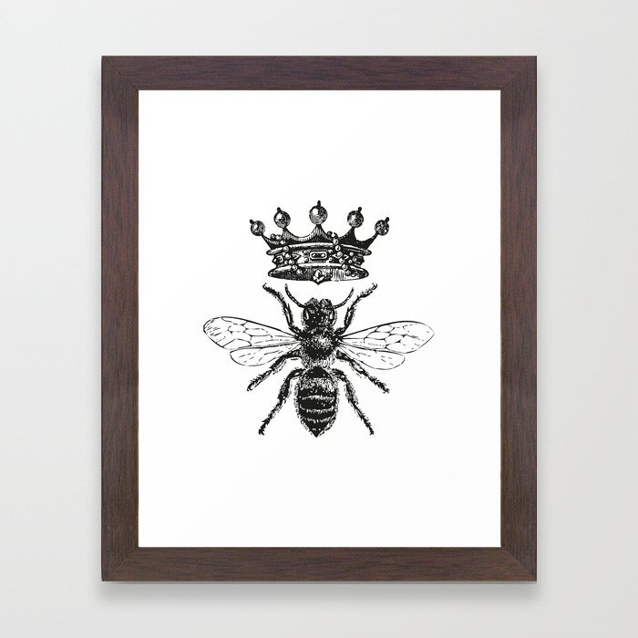Queen Bee   Black and White Framed Art Print