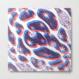 Offset Universe Blue and Red Metal Print