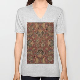 Flowery Boho Rug V // 17th Century Distressed Colorful Red Navy Blue Burlap Tan Ornate Accent Patter Unisex V-Neck