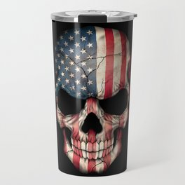 American Flag Skull on Black Travel Mug