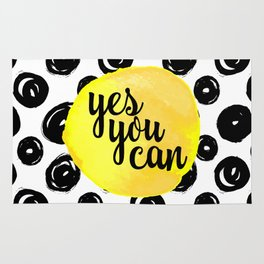 Yes You Can Motivational Quote Rug