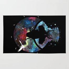Grungy Ninja Silhouette Rug