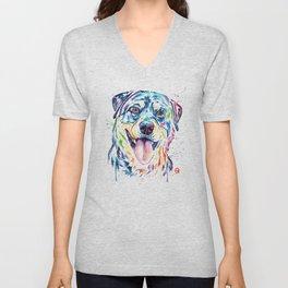 Rottweiler Pet Portrait Colourful Watercolor Painting Unisex V-Neck