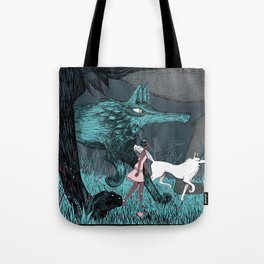 Woman Wolf wandering Tote Bag