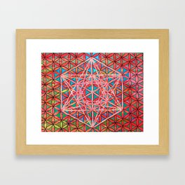 Magma Metatron's Cube Flower of Life Mandala Framed Art Print