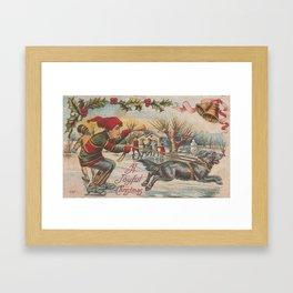 Vintage Ice Skating With Dog, Christmas Scene Framed Art Print