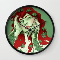 poison ivy Wall Clocks featuring poison ivy by bzablackis