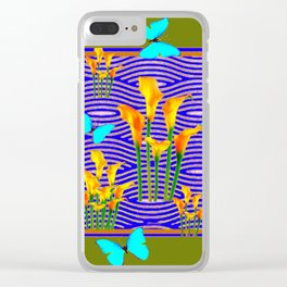 Moss Green Blue-Gold  Butterfly Floral Art Clear iPhone Case