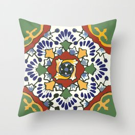 Talavera Mexican tile inspired bold design in blue, green, red, orange Throw Pillow