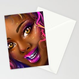 smiling colorful black island girl Stationery Cards