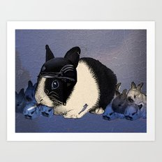 Blue Biker Bunny Print Art Print