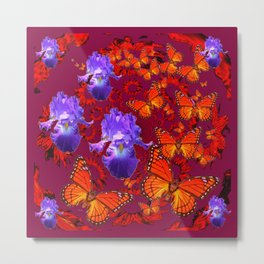 Lilac Iris  Monarch Butterflies Burgundy Color Metal Print
