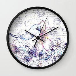Bird and Flowers Wall Clock