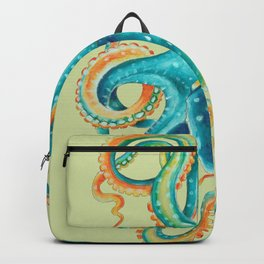 Octopus Teal Tentacles On Yellow Green Backpack