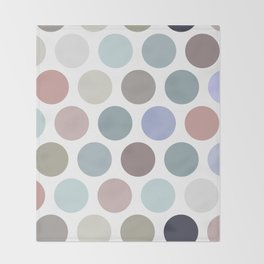 Polka dot pattern. Pastel color dot on white background Throw Blanket