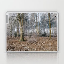 Woodland covered in frost. Norfolk, UK. Laptop & iPad Skin