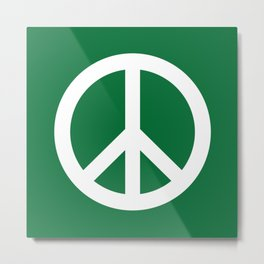 Peace (White & Olive) Metal Print
