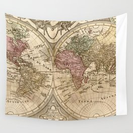 Vintage Map of The World (1775) 3 Wall Tapestry