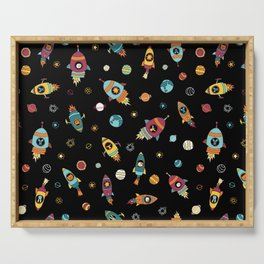 Space Ship Animals Seamless Pattern Serving Tray