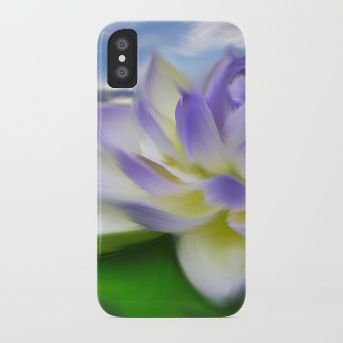 Purple Blue Lotus Flower On Water Painting Iphone Case By