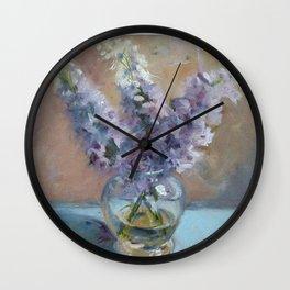 Delphiniums Wall Clock
