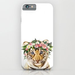 Baby Tiger With Flower Crown, Baby Animals Art Print By Synplus iPhone Case