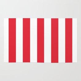 Rose madder red - solid color - white vertical lines pattern Rug