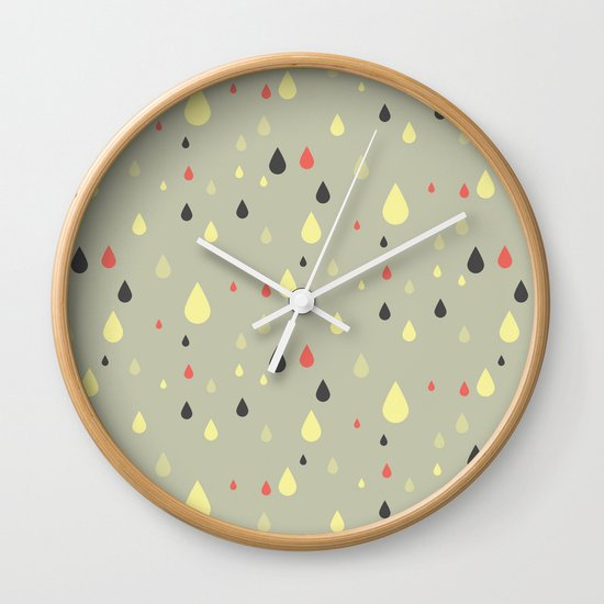 retro raindrops Wall Clock
