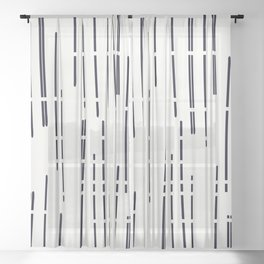 Abstract broken lines - black on off white Sheer Curtain