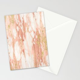 Rose Gold Marble - Rose Gold Yellow Gold Shimmery Metallic Marble Stationery Cards