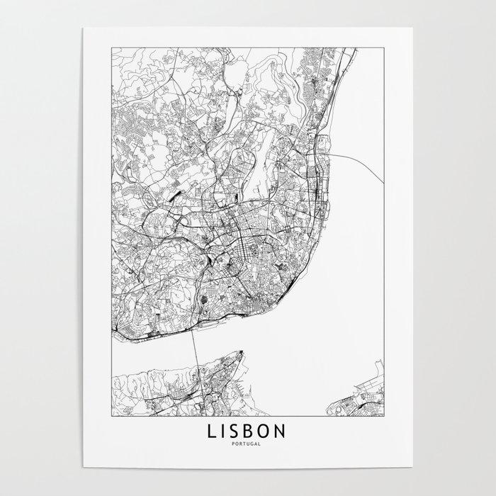 Lisbon White Map Poster