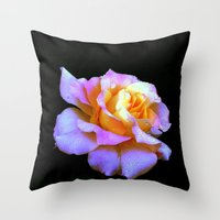 rose gold Throw Pillows featuring Pink And Gold Rose by minx267