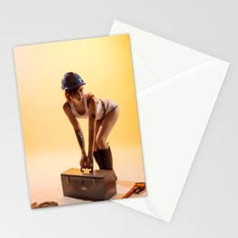 """Handywoman"" - The Playful Pinup - Hard Hat Construction Pin-up Girl by Maxwell H. Johnson Stationery Cards"