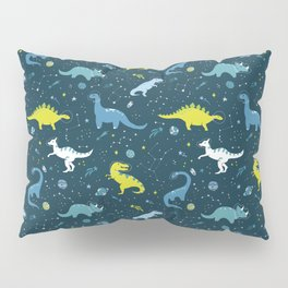 Space Dinosaurs in Bright Green and Blue Pillow Sham