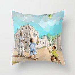 Punjabi village kite flying Throw Pillow
