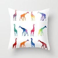 giraffes Throw Pillows featuring Giraffes by emegi