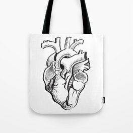 Charcoal :: Anatomical Heart Sketch Tote Bag