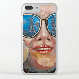 Paris in glasses Clear iPhone Case