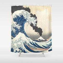 Great Wave off Kanagawa Mount Fuji Eruption Katsushika Hokusai Shower Curtain