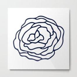 Rose Nautical Navy on White Metal Print
